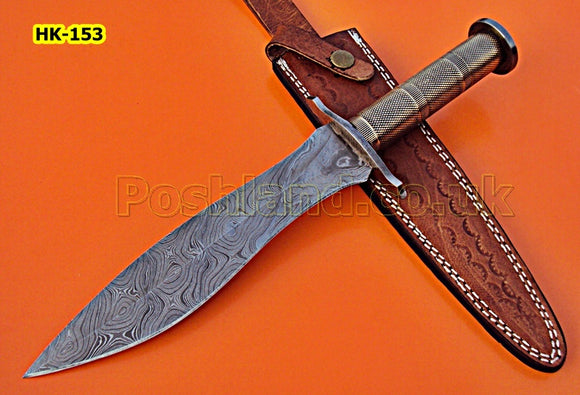 REG-HK-153 Handmade Damascus Steel 13.00 Inches  Bowie  Knife - Gorgeous Leath Work on Brass Handle with Damascus Steel Guards