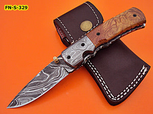 FN-S-329, Handmade Damascus Steel Folding Knife – Solid Olive Burrel Wood Handle with Damascus Steel Bolster