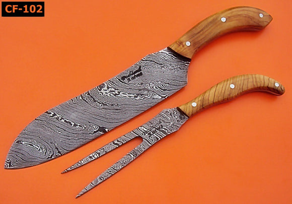 CF-102 Handmade Damascus Steel Chef Carving Knife Set -Olive Burl Wood Handles