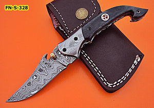 FN-S-328, Handmade Damascus Steel Folding Knife – Colored Bone Handle with Damascus Steel Bolsters