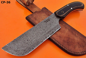 RK- CP-36 Damascus Steel 11.00 Inches Cleaver Knife – Black/Brown Micarta Handle