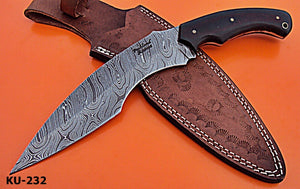 REG-KU-232, Custom Handmade Damascus Steel 12.3 Inches Kukri Knife - Solid Two Tone Micarta Handle