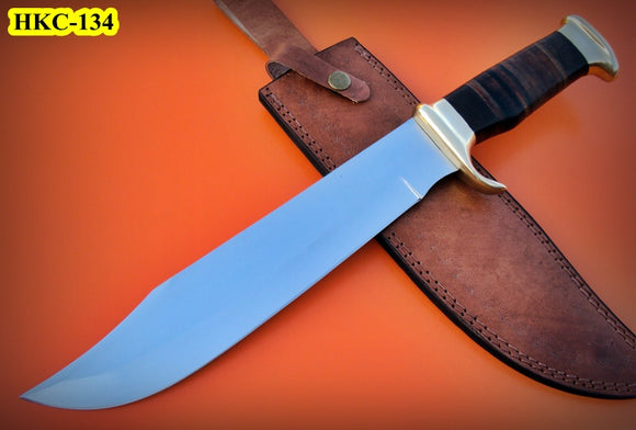 REG-HKC-134 Handmade High Carbon Steel 16.6 inch Hunting Knife - Beautiful Leather Sheet Handle with Brass Bolster
