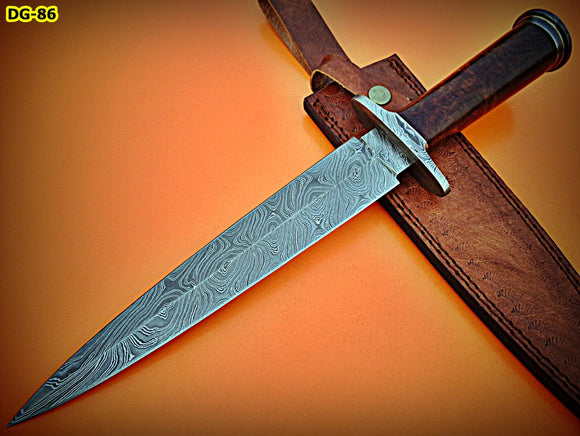 RAM-DG-86, Handmade Damascus Steel Dagger Knife – Solid Rose Wood Handle