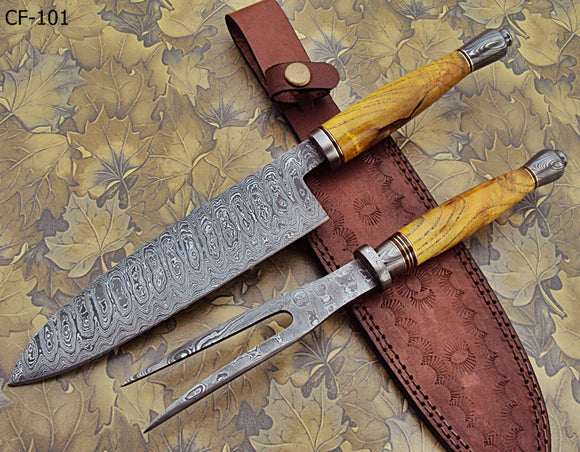 RK-CF-101 Style Damascus Steel Chef Knife – Stunning Exotic wood Handle