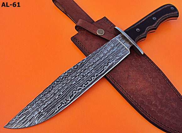 REG-AL-61 Custom Damascus Steel 15 Inches Bowie Knife- Stunning Micarta Handle