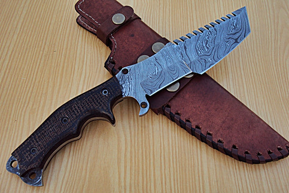 TR-P-334 Custom Handmade Damascus Steel Tracker Knife- Stunning Micarta Handle
