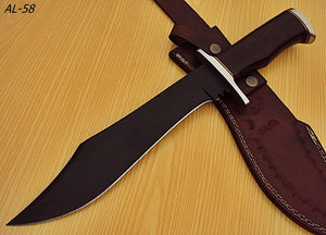 REG-AL-58 15.00 Inches Powder Carbon Coated Bowie Knife - Stunning Rose Wood Handle