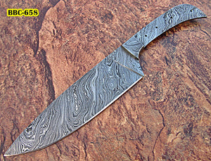 BBC-658,  Handmade Damascus Steel 12 Inches Full Tang Chef Knife with Damascus Steel Bolster - Best Quality Blank Blade