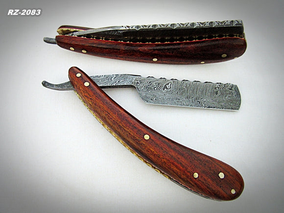 RZ-2083, Custom Handmade Damascus Steel Straight Razor  - Beautiful File Work on Rose Wood Handle