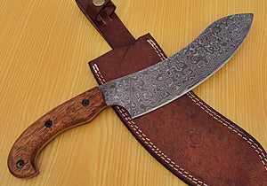 RK-KA-506, Custom Handmade Damascus Steel 13.4 Inches Chef Knife - Beautiful Marindi Wood Handle
