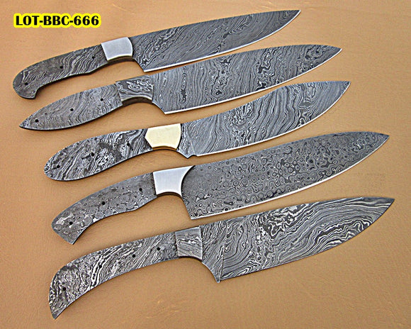 BBC-666,  Handmade Damascus Steel Full Tang Chef Knife Blank Blade Set