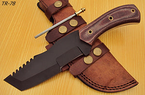 TR-78 10.00 Inches Powder Carbon Coated Tracker Knife - Stunning Micarta Wood Handle