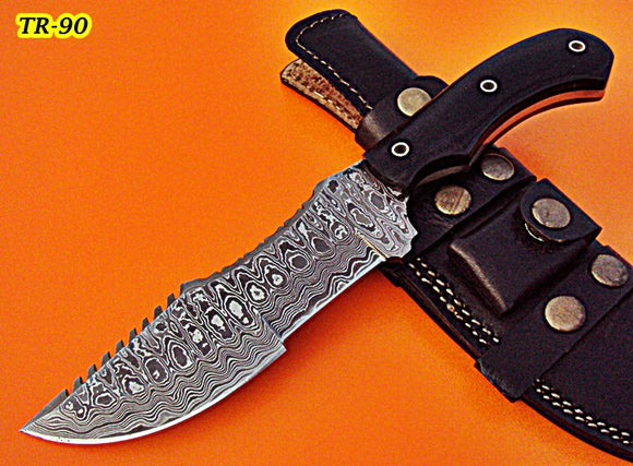 TR-90, Custom Handmade Damascus Steel Tracker Knife - Two Tone Jean Micarta Handle