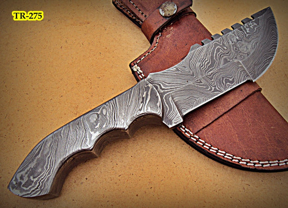 TR-275, Custom Handmade Full Tang Damascus Steel Tracker Knife