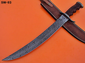 Sw-93, Handmade Damascus 21.4 Inches Sword. Solid Rose Wood Handle