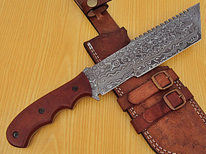 TR-KA-505 Custom Handmade Damascus Steel Tracker Knife- Stunning Micarta Handle