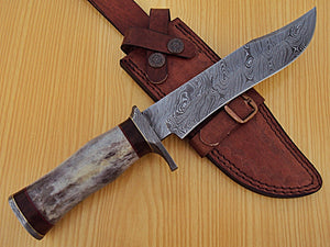 REG-K-895 Handmade Damascus Steel 12.00 Inches  Bowie  Knife - Stained Bone Handle