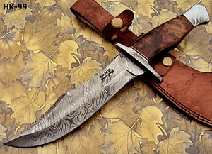 REG-274, Handmade Damascus Steel 13.00 Inches Hunting Knife - Rose Wood with Damascus Steel Guards Handle
