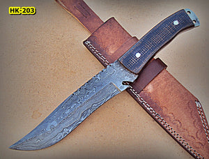REG-Hk-203, Handmade Full Tang Damascus Steel 12.2 Inches Bowie Knife - Brown and Black Jute Micarta Handle