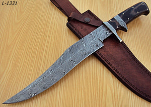 "REG-L-1331- Custom Handmade Damascus Steel 15.5"" Inches Full Tang Hunting Knife."