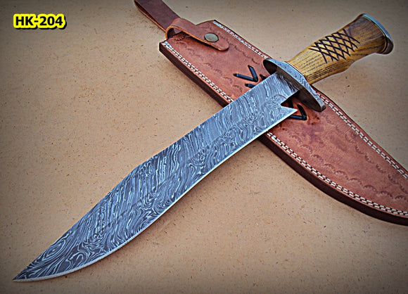 REG-Hk-204, Handmade Damascus Steel 16.3 Inches Bowie Knife - Beautiful Work on Apricots Wood Handle
