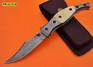 FN-U-518, Custom Handmade Damascus Steel Folding Knife - Solid White Bone Handle with Damascus Steel Bolsters