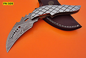 FN-509, Custom Handmade Full Tang Damascus Steel Folding Knife