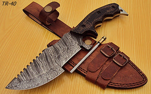 TR-40 Custom Handmade Damascus Steel Tracker Knife- Stunning Micarta Handle