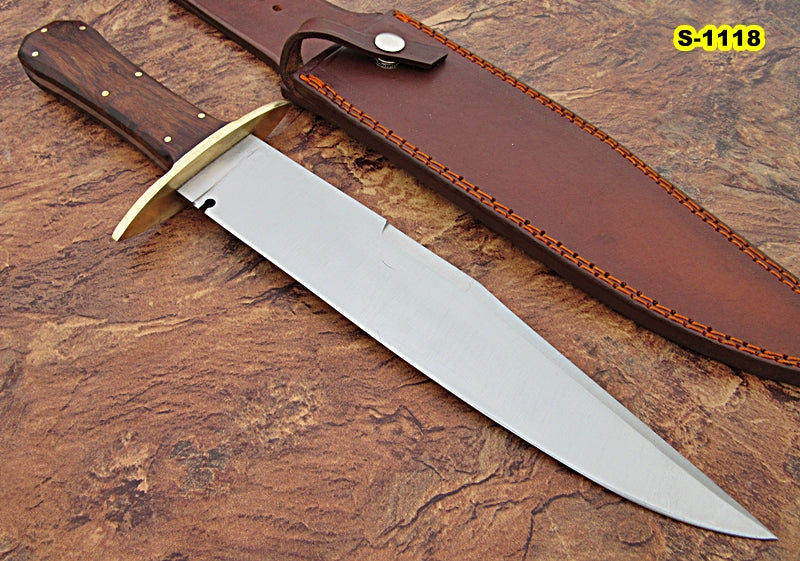 REG-S-1118, Custom Handmade Hi Carbon Steel 15 00 Inches Full Tang Bowie  Knife- Rose Wood Handle with Brass Guard
