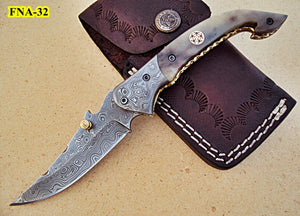 FN -32 Custom Handmade Damascus Steel Folding Knife - Beautiful Camel Bone Handle with Damascus Steel Bolsters