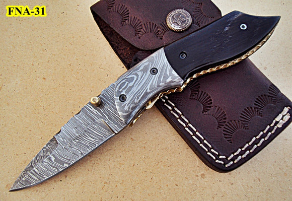 FNA-31 Custom Handmade Damascus Steel Folding Knife- Bull Horn Handle with Damascus Steel Bolsters