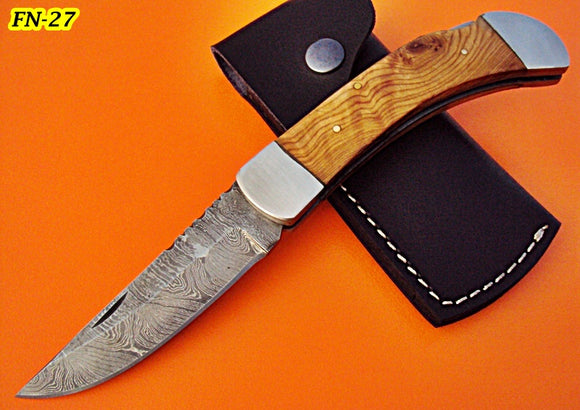 FN-27 Custom Handmade Damascus Steel Folding Knife -Olive Wood Handle