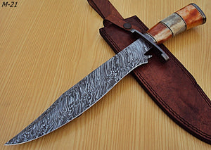 "REG-M-21- Custom Handmade Damascus Steel 14.6"""" Inches Hunting Knife."