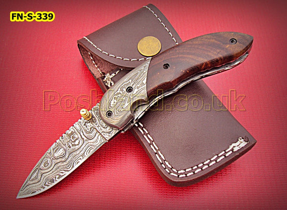 FN-S-339, Handmade Damascus Steel Folding Knife – Beautiful Rose Wood Handle with Damascus Steel Bolster