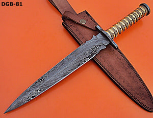 RAM-DGB-81, Handmade Damascus Steel 15.4 Inches Dagger Knife – Beautiful Brass Handle with Damascus Steel Guard