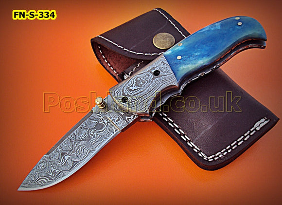FN-S-334, Handmade Damascus Steel Folding Knife – Beautiful Colored Bone Handle with Damascus Steel Bolster