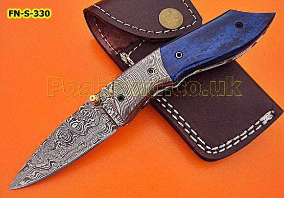 FN-S-330, Handmade Damascus Steel Folding Knife – Beautiful Colored Bone Handle with Damascus Steel Bolster