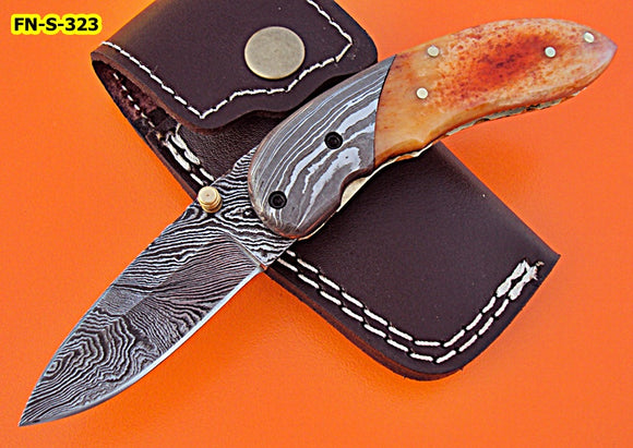 FN-S-323, Handmade Damascus Steel Folding Knife – Beautiful Colored Bone Handle with Damascus Steel Bolster