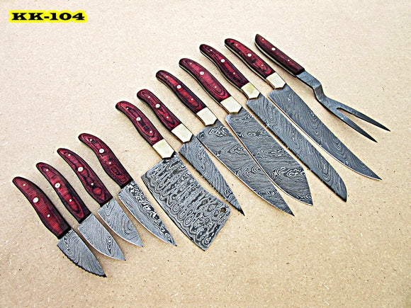 KK-104, Custom Handmade Damascus Steel 11 Pieces Kitchen Knife Set - Best Quality Red Doller Sheet Handle with Brass Bolsters