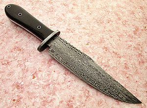 REG-BH-90, Handmade Damascus Steel 12.20 Inches Bowie Knife - Buffalo Horn Handle with Damascus Steel Guard