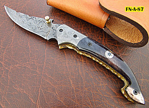 FNA-87 Custom Handmade Damascus Steel Folding Knife - Beautiful Camel Bone Handle with Damascus Steel Bolsters