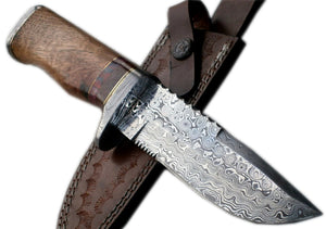 REG-16 C-FR Handmade Damascus Steel 11.00 Inches Bowie Knife - Exotic Wood Handle