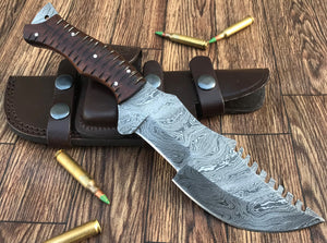 REG-HK-299, Custom Handmade 17.00 Inches Damascus Steel Bowie Knife – Beautiful G-10 Handle with Damascus Steel Guard