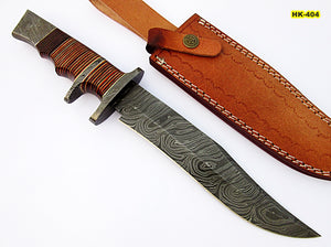 REG-HK-404, Custom Handmade 13.00 Inches Damascus Steel Bowie Knife – Beautiful Three Tone Micarta Handle with Double Damascus Steel Guard