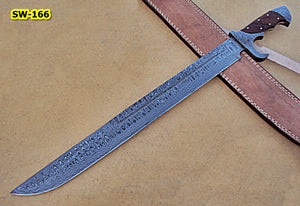 SW-166 Full Tang,  Handmade Damascus Steel Full Tang Sword - Great Piece of Art