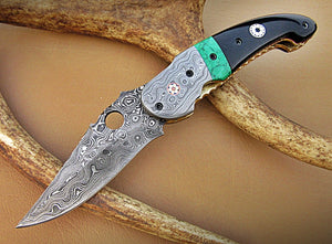 FA-1116, Custom Handmade Damascus Steel Folding Knife-[Rain Drop] - Beautiiful Bull Horn, Green Stone  with Damascus Steel Bolsters. Amazing File Work And Two Musice Pins Each Side.