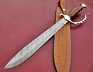REG-HK-393 - Handmade Damascus Steel 19.00 Inches Bowie Knife - Perfect Grip Rose Wood Handle with Beautiful Brass Guard