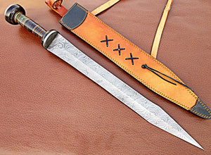 Sw-310, Handmade Damascus Steel 25 Inches Sword - Solid Doller Sheet Handle with Damascus Steel Guard