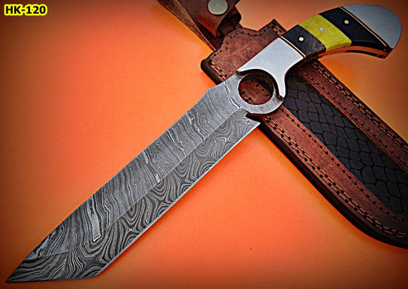 REG-HK-120, Custom Handmade 12.40 Inches Damascus Steel Bowie Knife – Stained Bone Handle with Stainless Steel Pommel